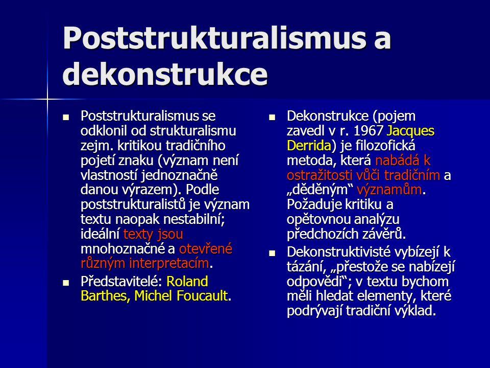 Poststrukturalismus a dekonstrukce