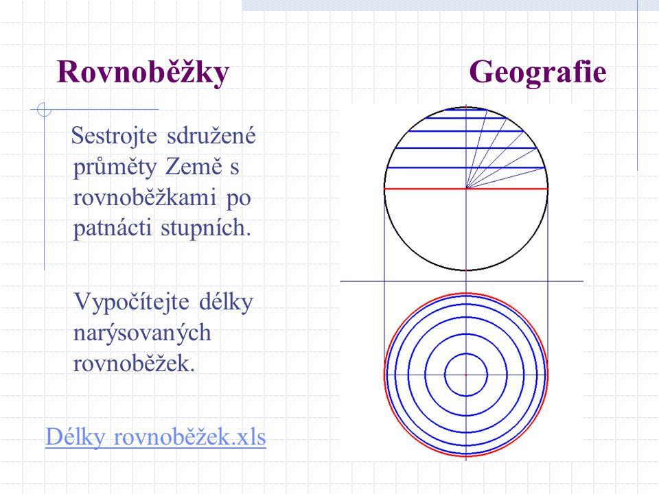 Rovnoběžky Geografie Sestrojte sdružené průměty Země s rovnoběžkami po patnácti stupních.