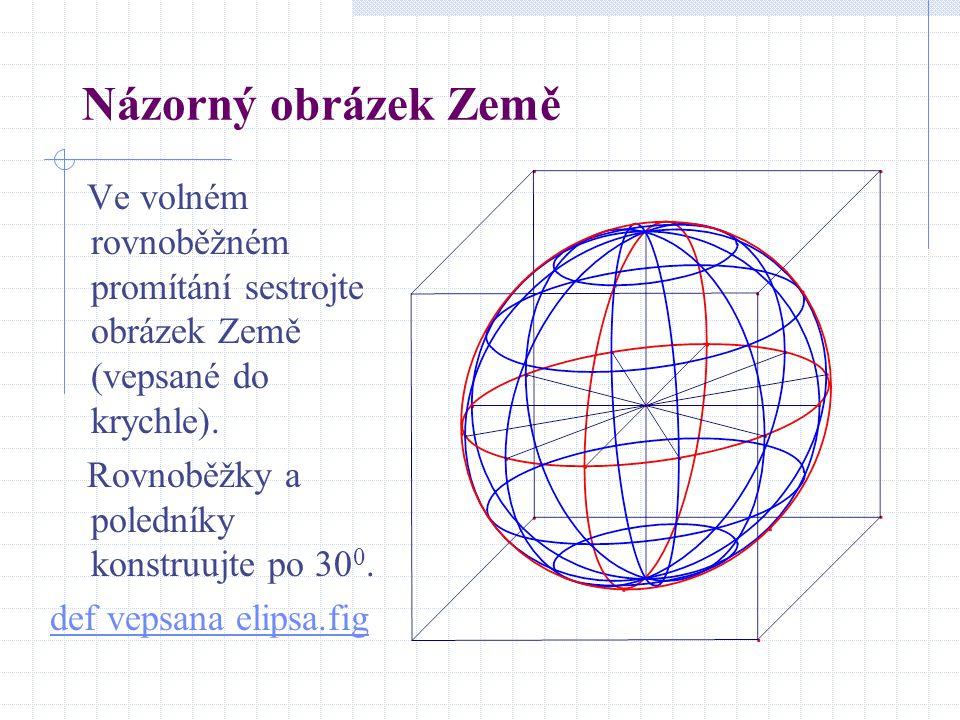 Názorný obrázek Země Ve volném rovnoběžném promítání sestrojte obrázek Země (vepsané do krychle). Rovnoběžky a poledníky konstruujte po 300.
