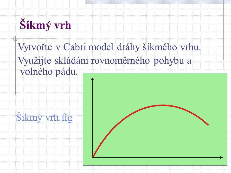 Šikmý vrh Vytvořte v Cabri model dráhy šikmého vrhu.