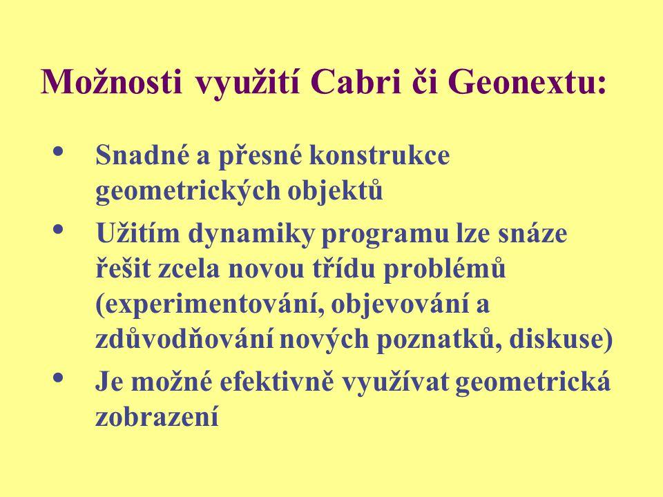 Možnosti využití Cabri či Geonextu:
