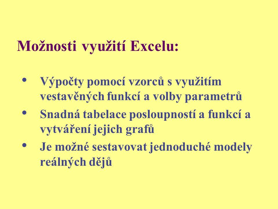 Možnosti využití Excelu: