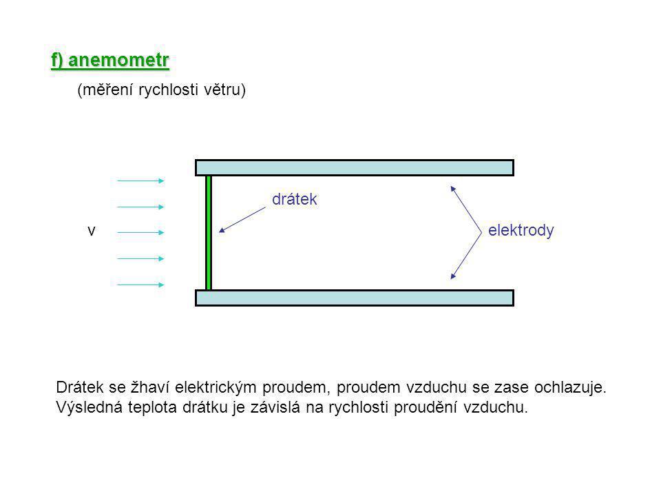 f) anemometr (měření rychlosti větru) drátek v elektrody