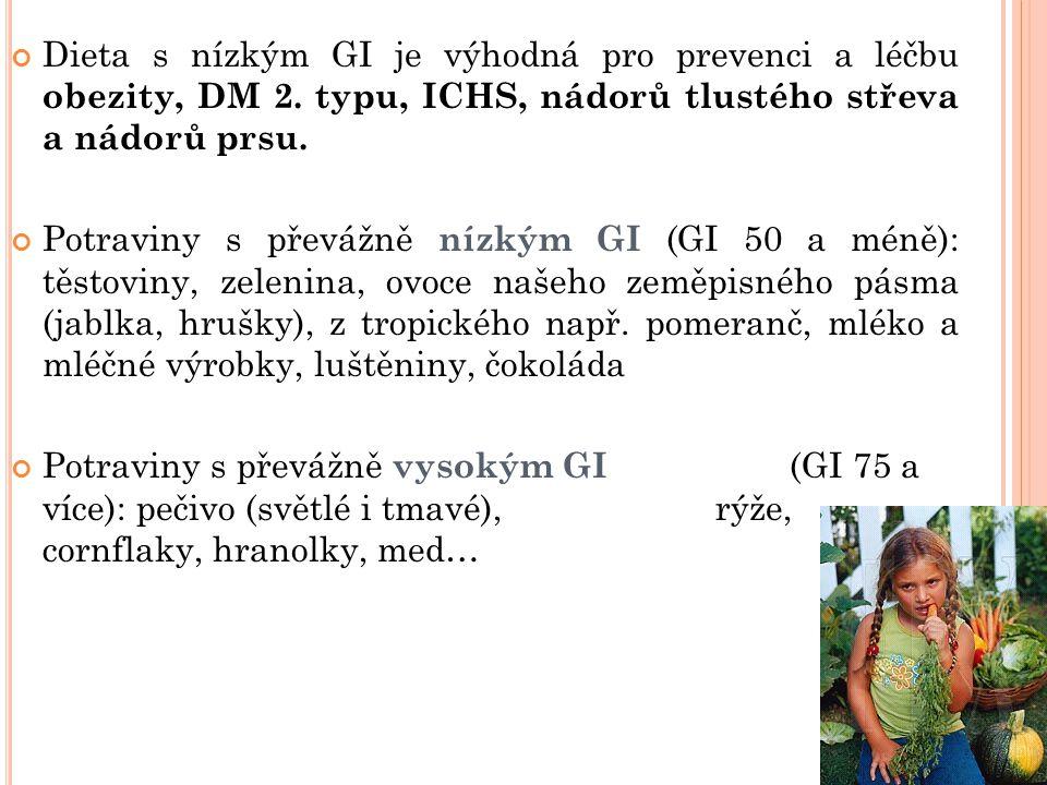 Dieta s nízkým GI je výhodná pro prevenci a léčbu obezity, DM 2