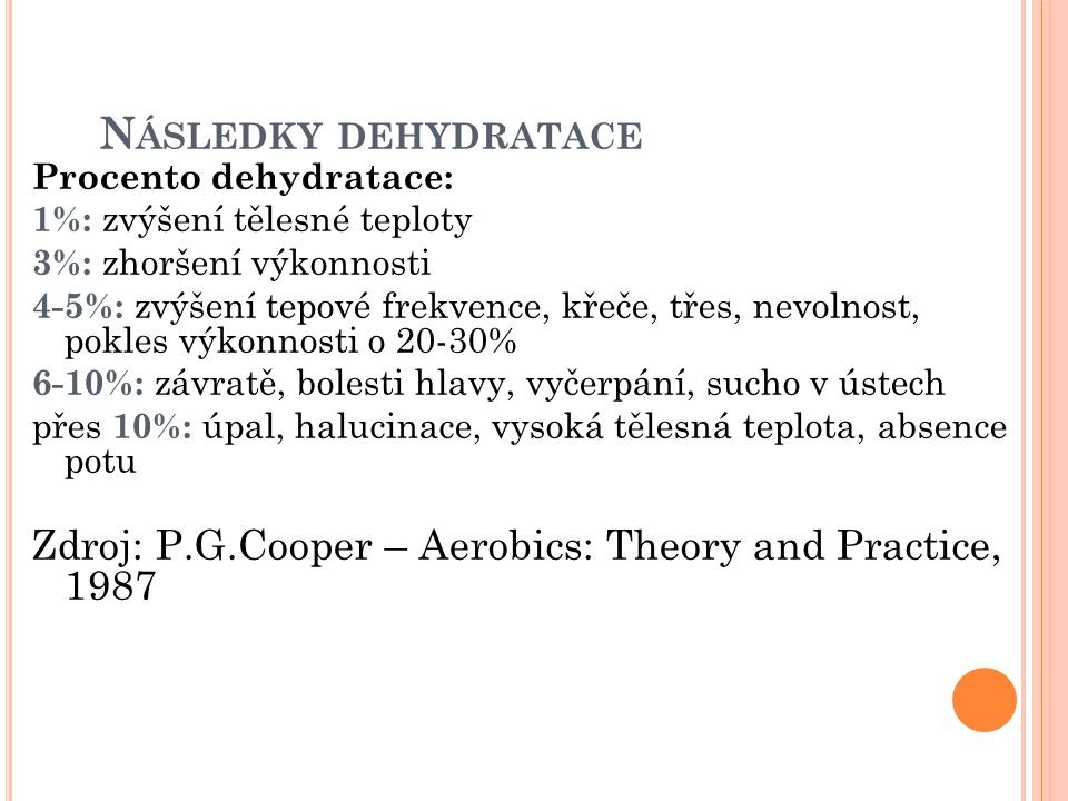 Následky dehydratace Procento dehydratace: 1%: zvýšení tělesné teploty. 3%: zhoršení výkonnosti.
