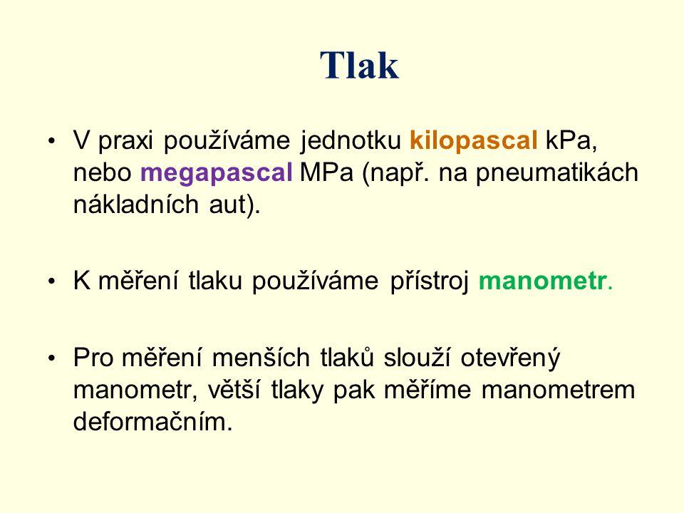 Tlak V praxi používáme jednotku kilopascal kPa, nebo megapascal MPa (např. na pneumatikách nákladních aut).