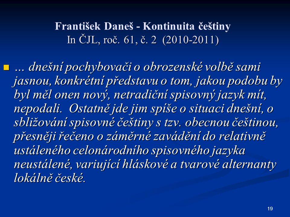 František Daneš - Kontinuita češtiny In ČJL, roč. 61, č. 2 (2010-2011)