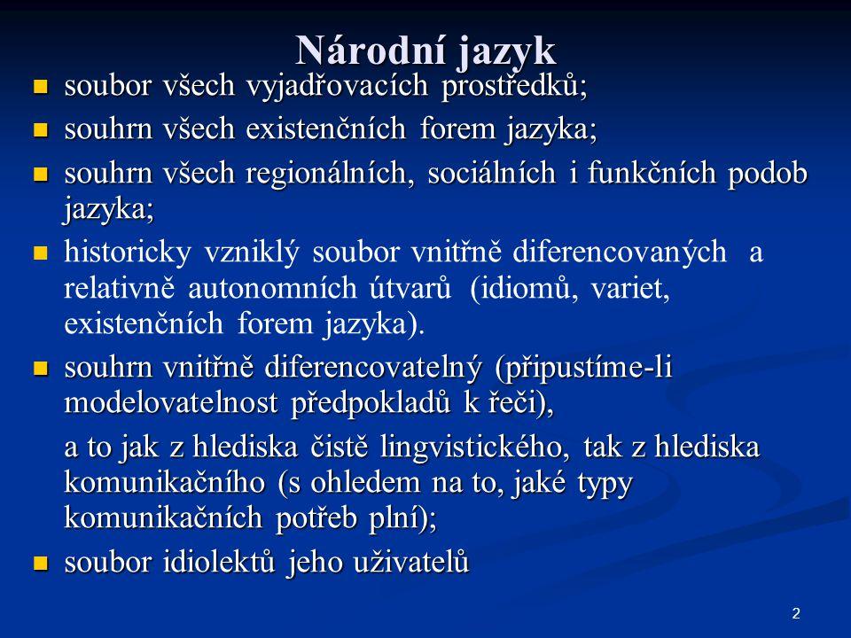 Národní jazyk soubor všech vyjadřovacích prostředků;