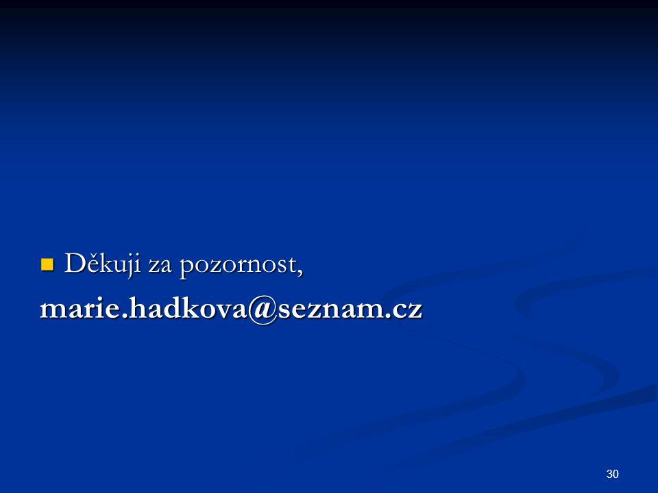 Děkuji za pozornost, marie.hadkova@seznam.cz