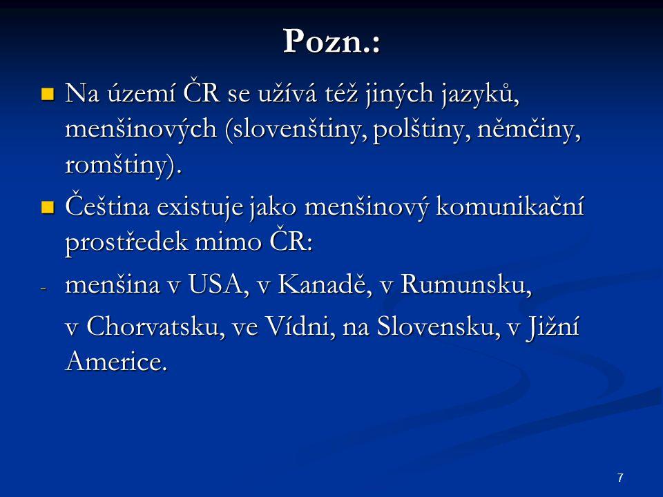 Pozn.: Na území ČR se užívá též jiných jazyků, menšinových (slovenštiny, polštiny, němčiny, romštiny).