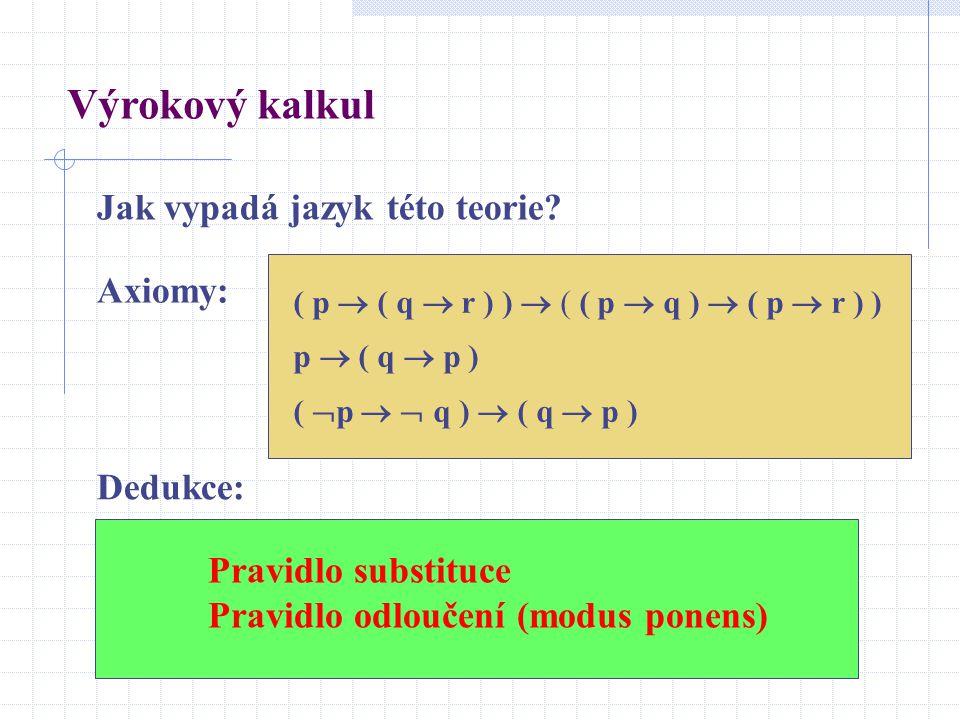 Výrokový kalkul Jak vypadá jazyk této teorie Axiomy: Dedukce: