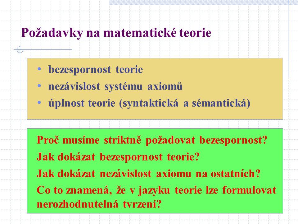 Požadavky na matematické teorie