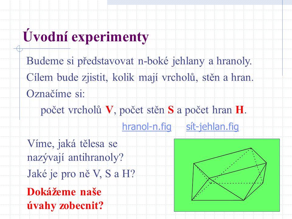 Úvodní experimenty Budeme si představovat n-boké jehlany a hranoly.