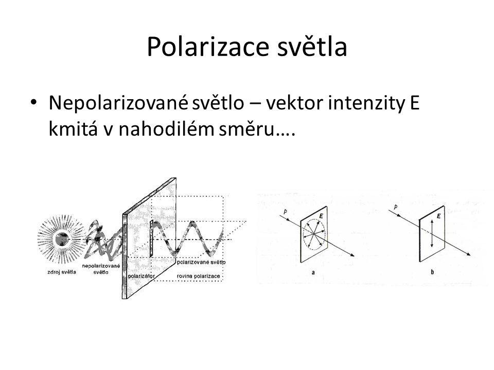 Polarizace světla Nepolarizované světlo – vektor intenzity E kmitá v nahodilém směru….