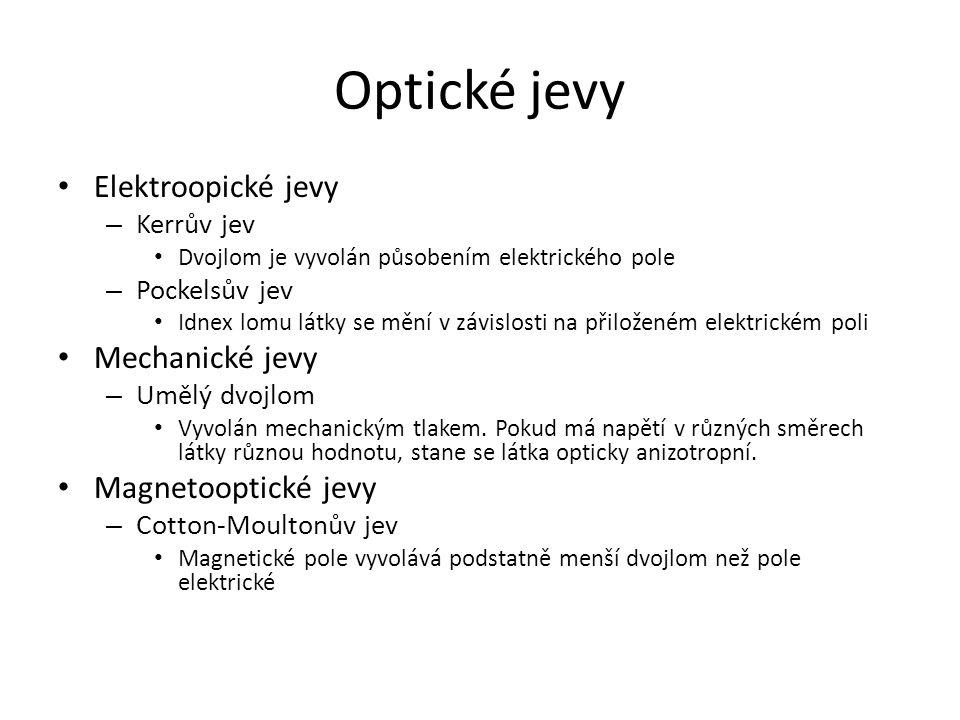 Optické jevy Elektroopické jevy Mechanické jevy Magnetooptické jevy