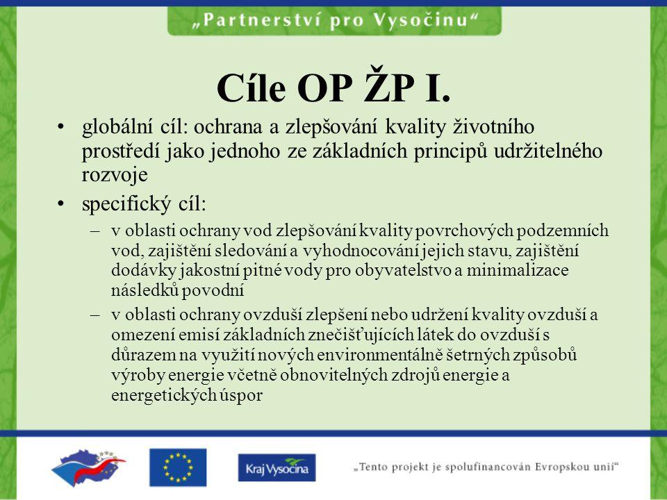 Cíle OP ŽP I. globální cíl: ochrana a zlepšování kvality životního prostředí jako jednoho ze základních principů udržitelného rozvoje.