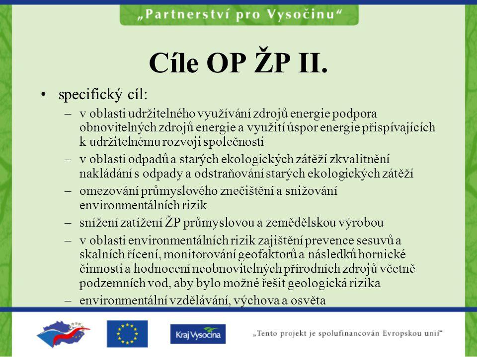 Cíle OP ŽP II. specifický cíl: