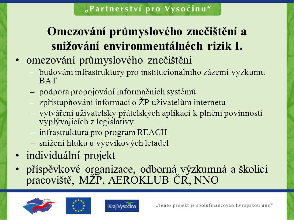 Omezování průmyslového znečištění a snižování environmentálnéch rizik I.