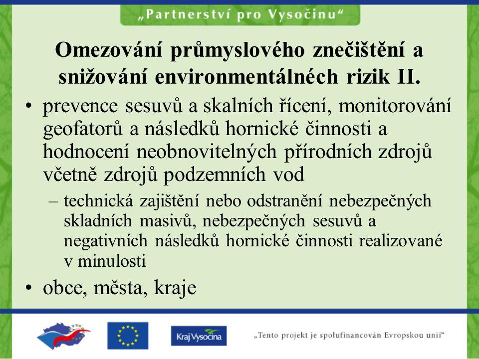 Omezování průmyslového znečištění a snižování environmentálnéch rizik II.