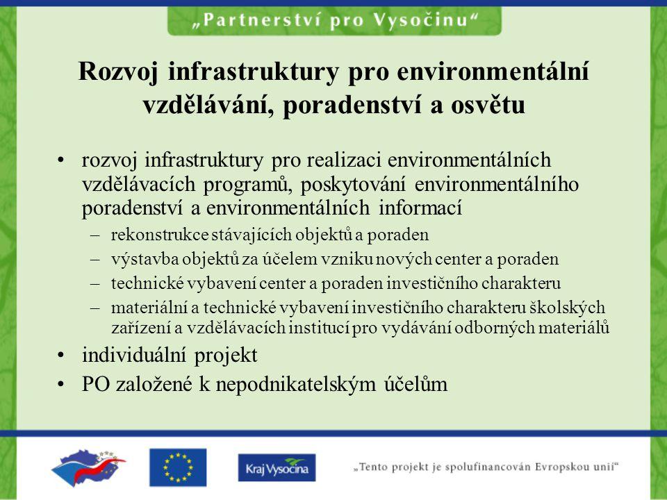 Rozvoj infrastruktury pro environmentální vzdělávání, poradenství a osvětu