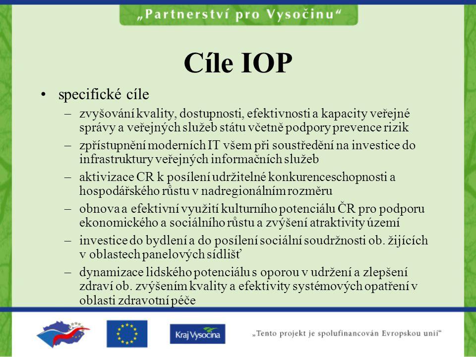 Cíle IOP specifické cíle