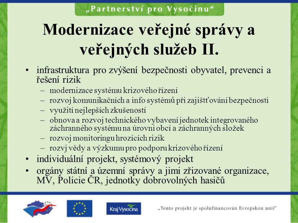 Modernizace veřejné správy a veřejných služeb II.