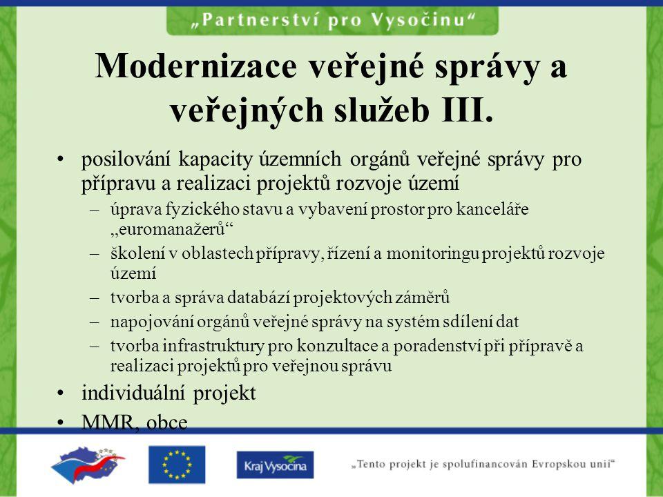 Modernizace veřejné správy a veřejných služeb III.