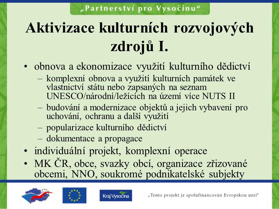 Aktivizace kulturních rozvojových zdrojů I.