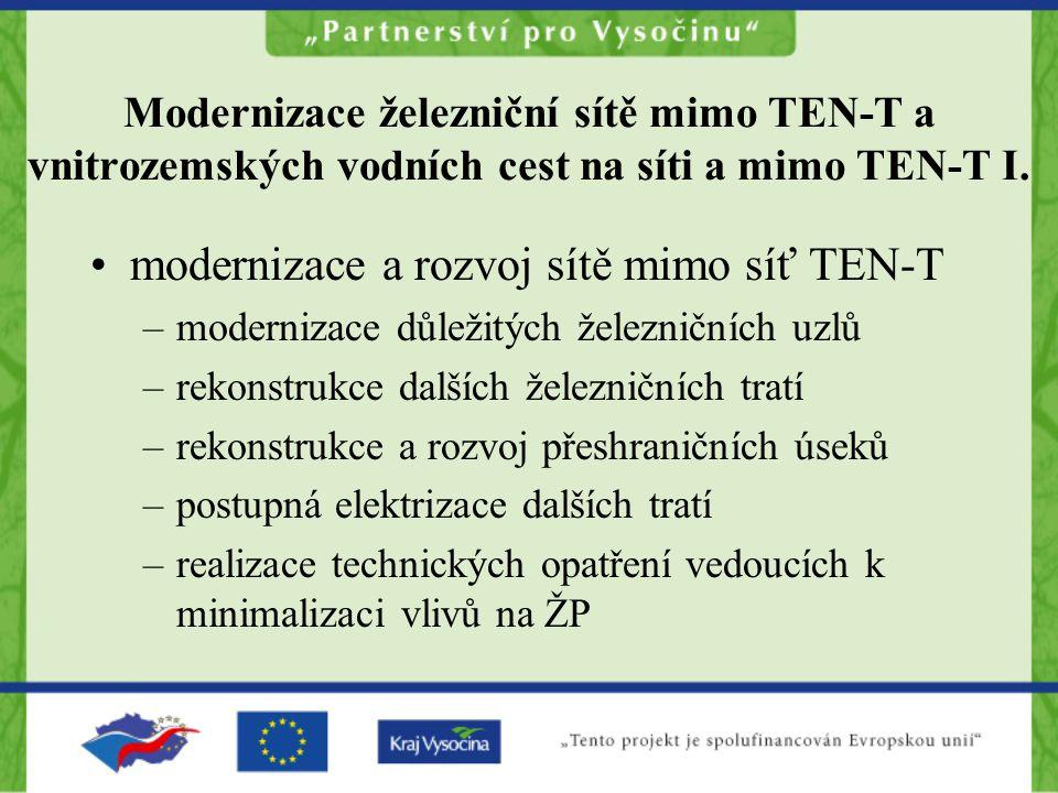 modernizace a rozvoj sítě mimo síť TEN-T