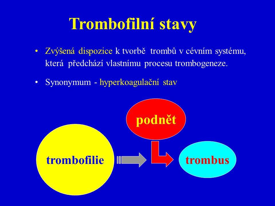 Trombofilní stavy podnět trombofilie trombus