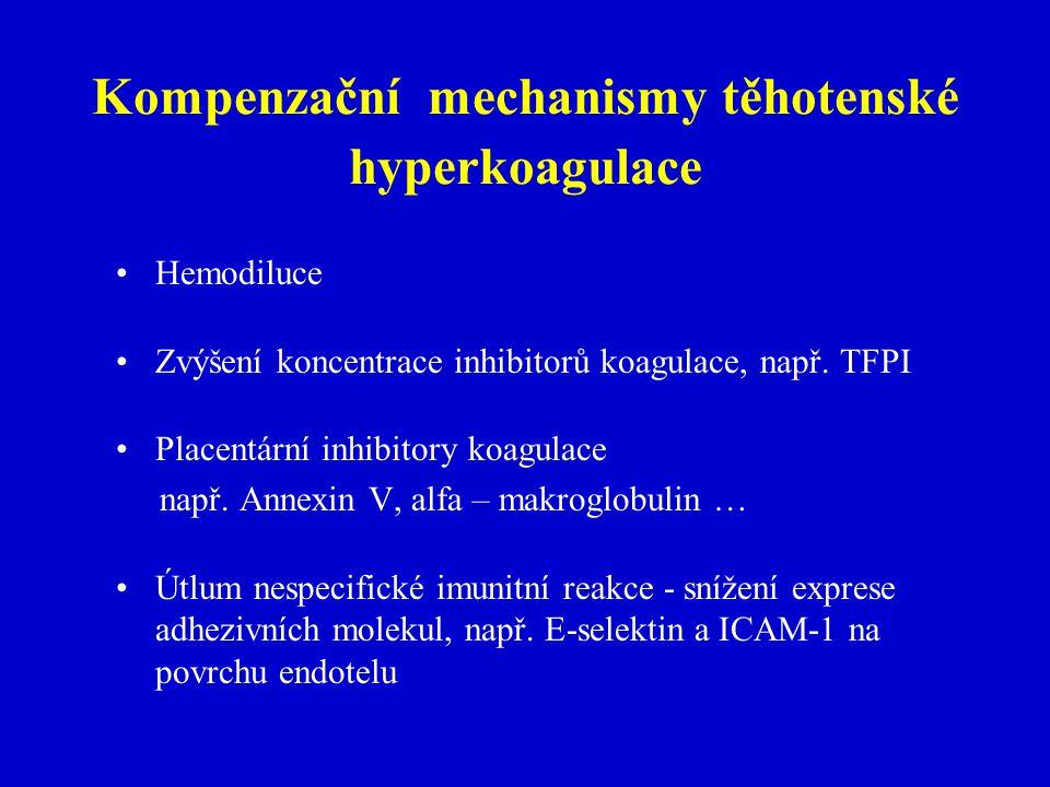 Kompenzační mechanismy těhotenské hyperkoagulace