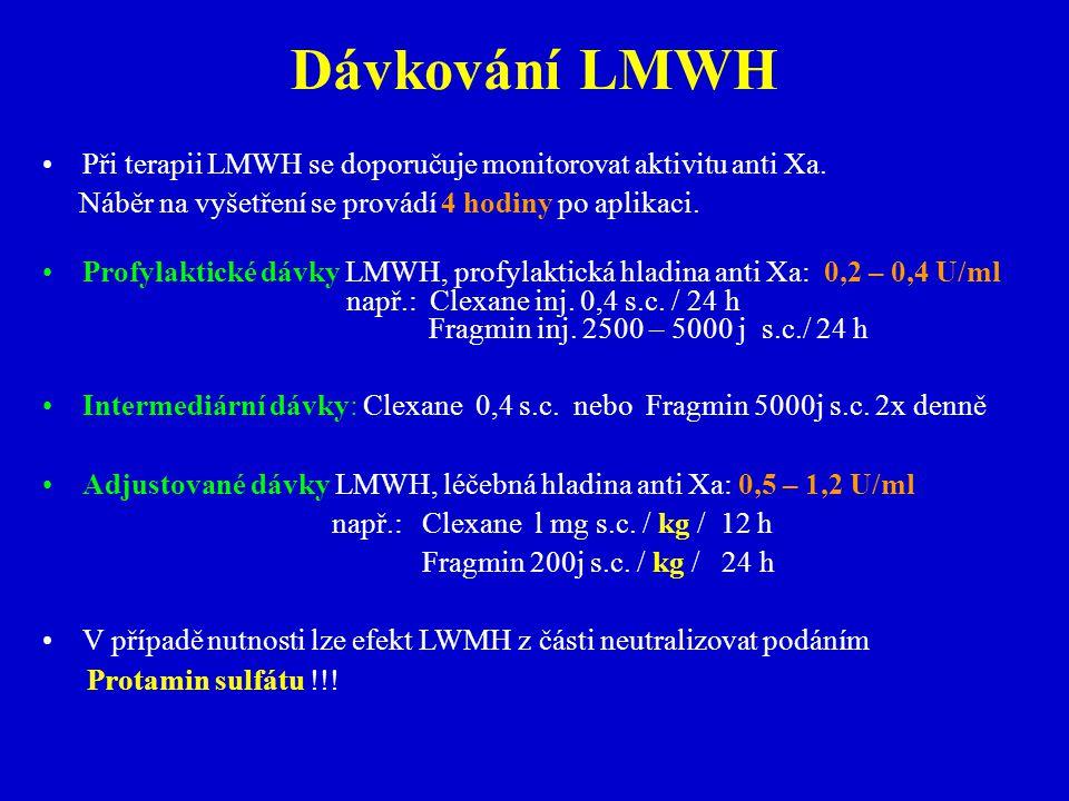 Dávkování LMWH Při terapii LMWH se doporučuje monitorovat aktivitu anti Xa. Náběr na vyšetření se provádí 4 hodiny po aplikaci.