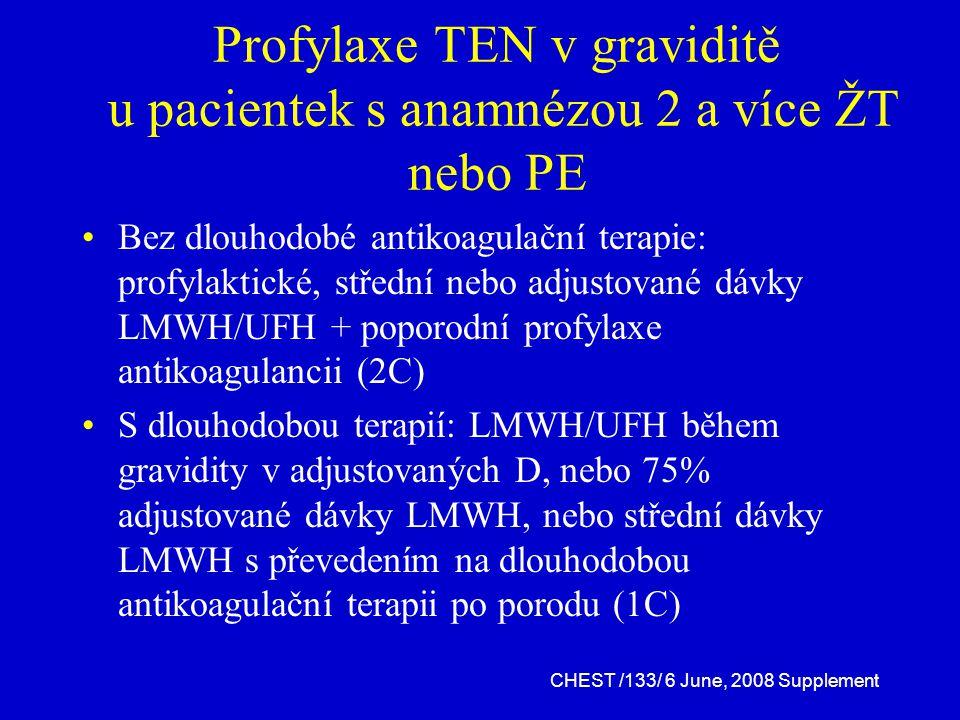 Profylaxe TEN v graviditě u pacientek s anamnézou 2 a více ŽT nebo PE