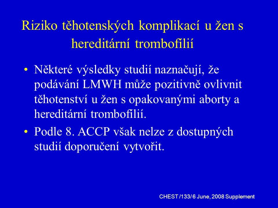 Riziko těhotenských komplikací u žen s hereditární trombofílií
