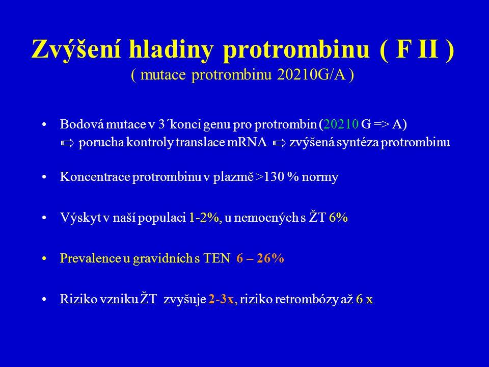 Zvýšení hladiny protrombinu ( F II )
