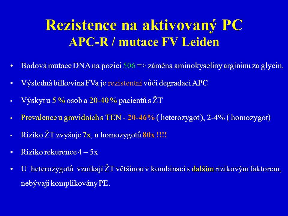 Rezistence na aktivovaný PC APC-R / mutace FV Leiden
