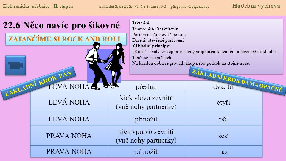 22.6 Něco navíc pro šikovné ZATANČÍME SI ROCK AND ROLL LEVÁ NOHA