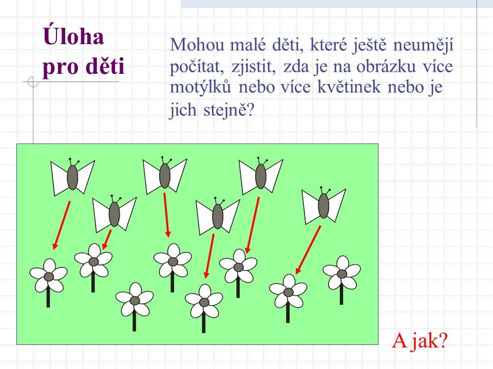 Úloha pro děti Mohou malé děti, které ještě neumějí počítat, zjistit, zda je na obrázku více motýlků nebo více květinek nebo je jich stejně