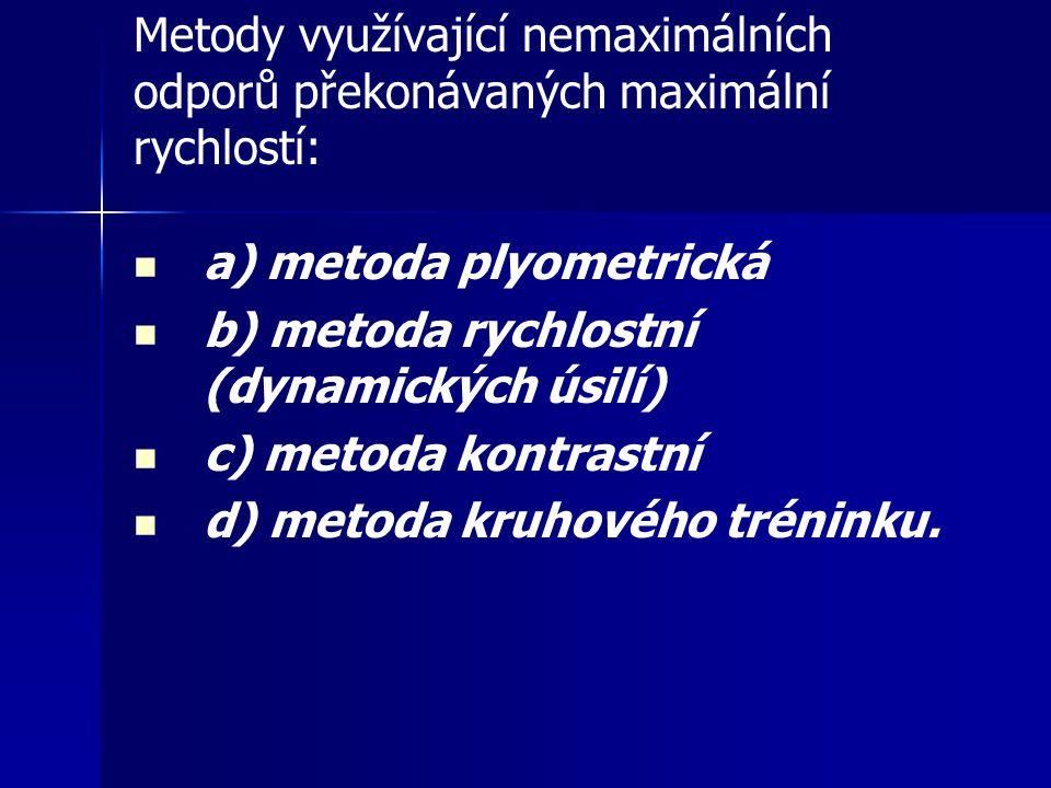 Metody využívající nemaximálních odporů překonávaných maximální rychlostí: