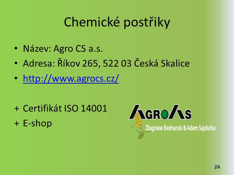 Chemické postřiky Název: Agro CS a.s.