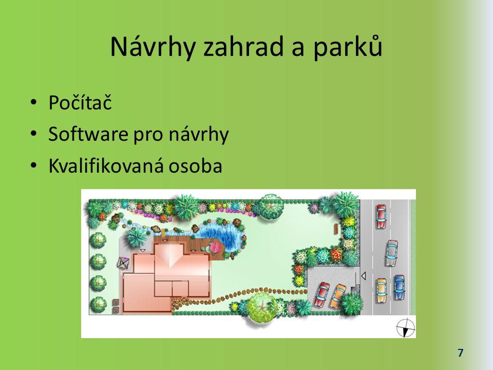Návrhy zahrad a parků Počítač Software pro návrhy Kvalifikovaná osoba