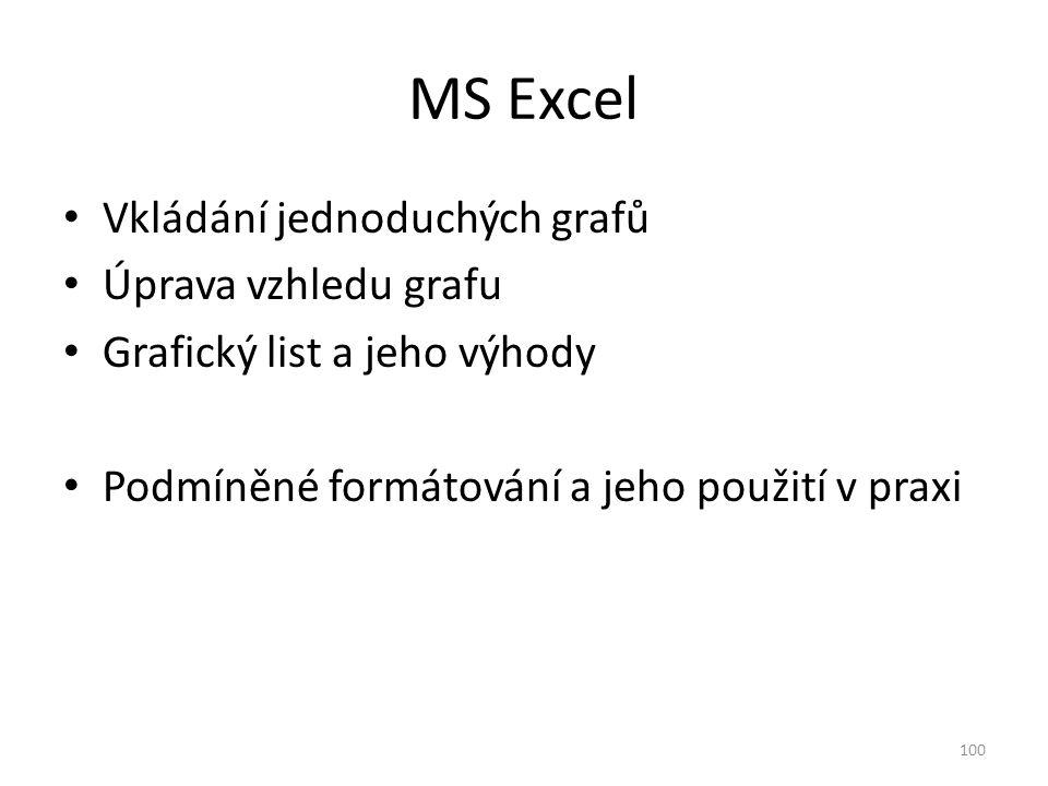 MS Excel Vkládání jednoduchých grafů Úprava vzhledu grafu