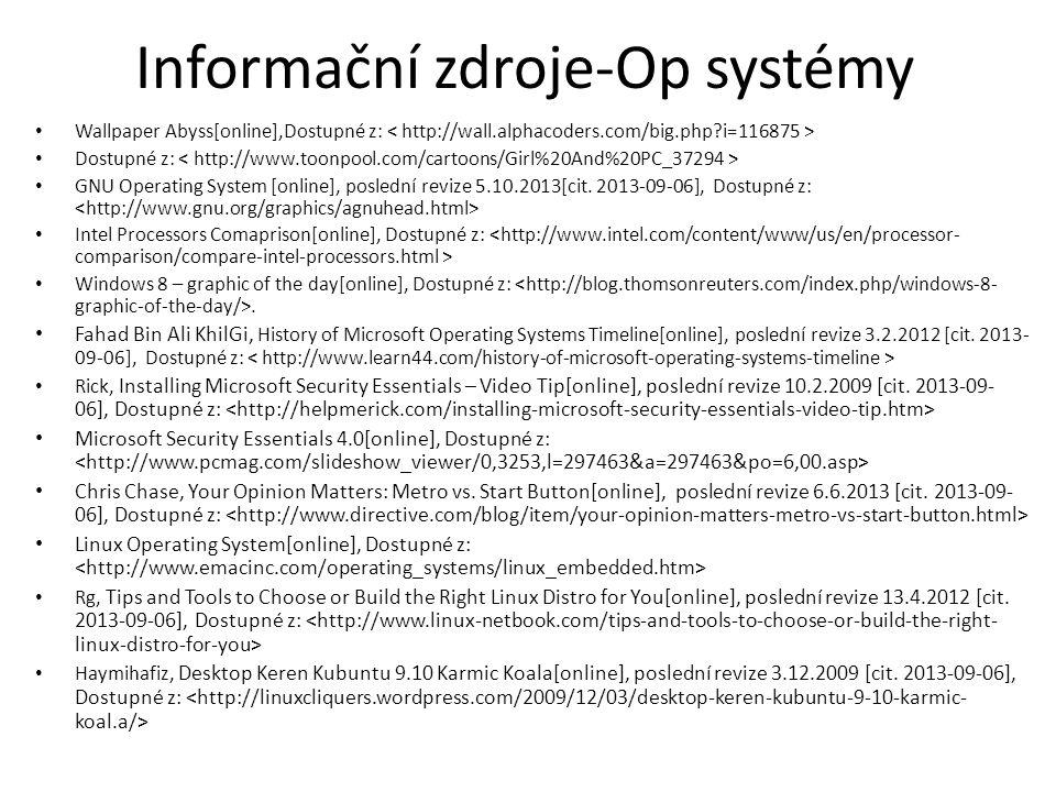Informační zdroje-Op systémy