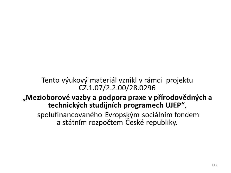 Tento výukový materiál vznikl v rámci projektu CZ.1.07/2.2.00/28.0296