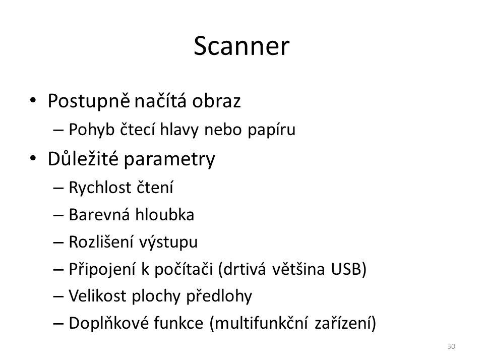 Scanner Postupně načítá obraz Důležité parametry