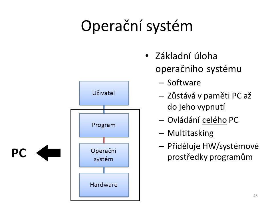 Operační systém PC Základní úloha operačního systému Software