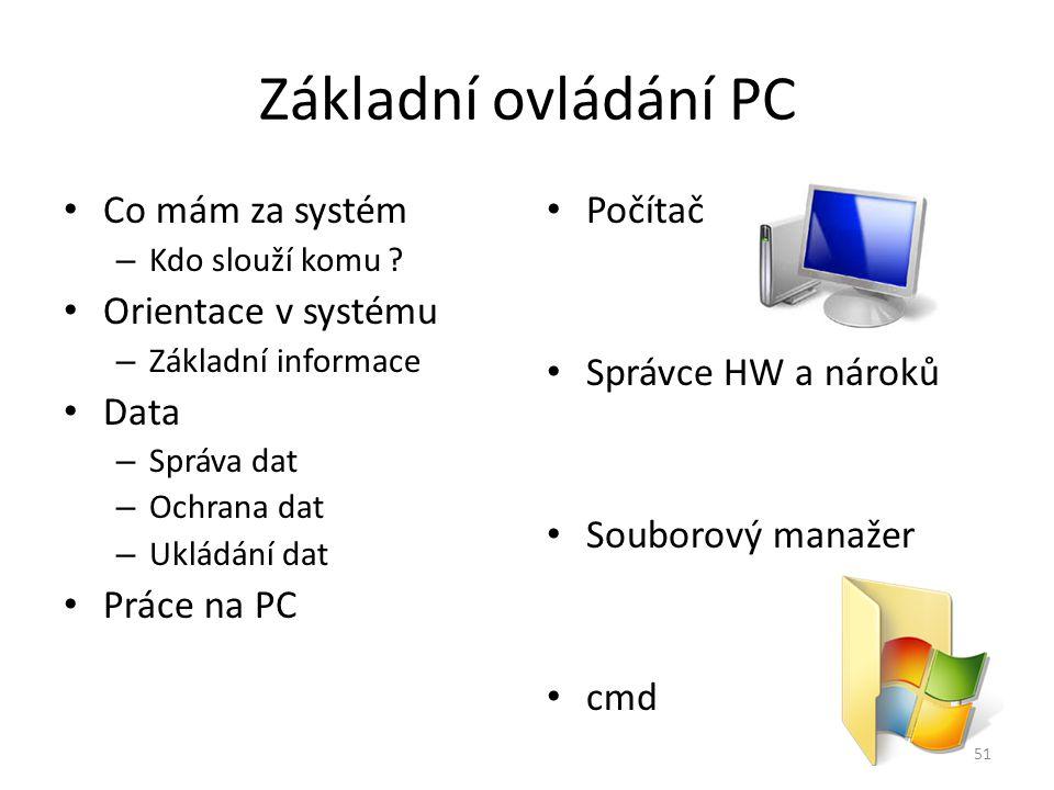Základní ovládání PC Co mám za systém Orientace v systému Data