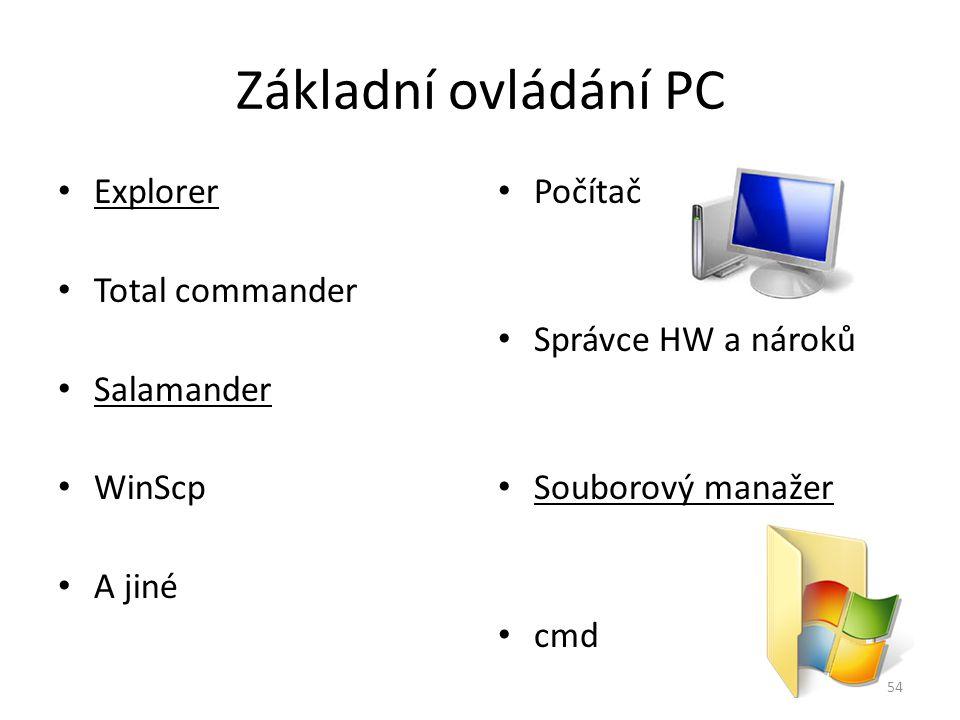 Základní ovládání PC Explorer Total commander Salamander WinScp A jiné