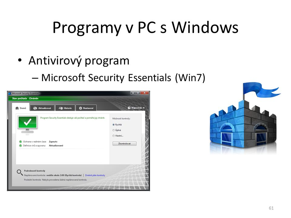 Programy v PC s Windows Antivirový program