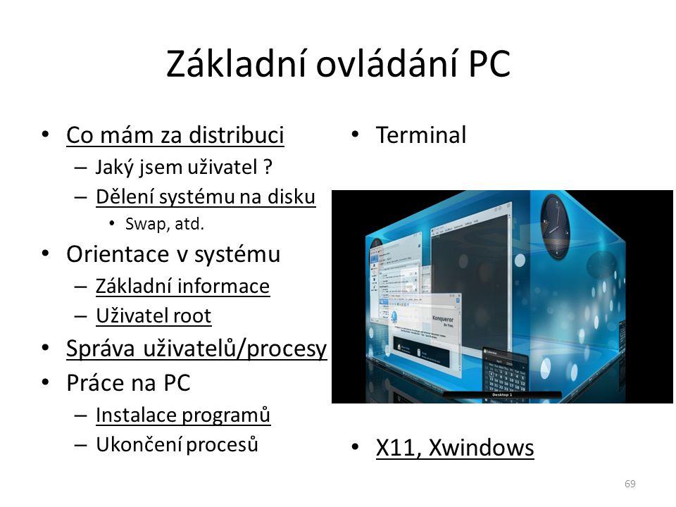 Základní ovládání PC Co mám za distribuci Orientace v systému